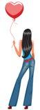 Pretty girl holding balloon. Pretty girl holding red balloon vector illustration