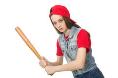 The pretty girl holding baseball bat isolated on white Stock Photography