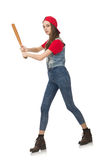 The pretty girl holding baseball bat isolated on white Royalty Free Stock Photography
