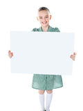Pretty girl holding blank white poster Stock Photo