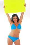 Pretty girl holding bright sign Stock Photos