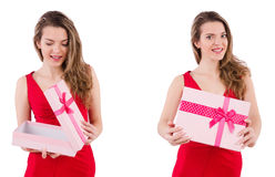 The pretty girl holding gift box isolated on white Stock Image