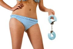 Pretty girl holding handcuffs Royalty Free Stock Photo