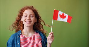 Pretty girl holding national flag of Canada standing on green background. Pretty girl with happy face is holding national flag of Canada standing on green stock video