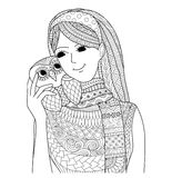 Pretty girl holding an owl zentangle design for coloring book for adult Stock Photography