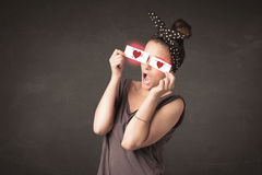 Pretty girl holding paper with red heart drawing Royalty Free Stock Photography