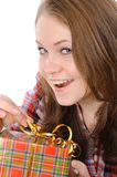 Pretty girl holding presents Royalty Free Stock Photos