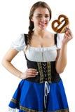 Pretty girl holding pretzel Royalty Free Stock Photo