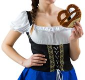 Pretty girl holding pretzel Royalty Free Stock Images