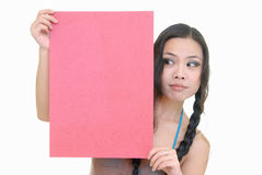 Pretty girl holding red card Royalty Free Stock Photography
