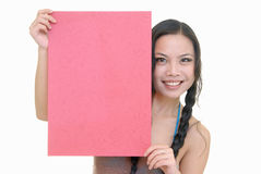 Pretty girl holding red card Stock Photos