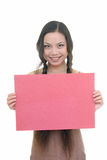 Pretty girl holding red card Royalty Free Stock Photos