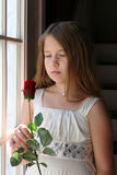 Pretty girl holding a red rose next to window Royalty Free Stock Photos
