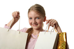 Pretty Girl Holding Shopping Bags Stock Photo