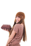 Pretty girl holding vanity case Stock Photography