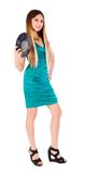 Pretty girl holding vinyl disc Royalty Free Stock Photography