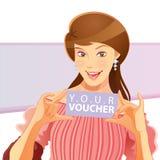 Pretty Girl Holding Voucher Stock Photo