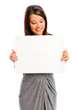 Pretty girl holding a white board Royalty Free Stock Photo