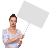 Pretty girl holds a blank placard on stick Stock Images