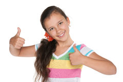 Pretty girl holds her thumbs up Royalty Free Stock Photo