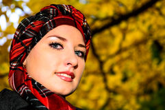 Pretty Girl In Autumn Park Stock Images