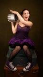 Pretty Girl In Purple With Big Radio Royalty Free Stock Photo