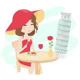 Pretty girl in Italy vector illustration