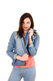 Pretty girl in jacket. Royalty Free Stock Photography