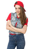 The pretty girl in jeans clothing isolated on white Royalty Free Stock Image