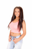 Pretty girl in jeans. Stock Photos