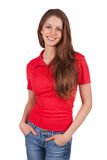 Girl in jeans and a red T-shirt Stock Photography