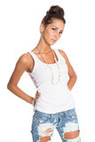 Pretty girl in jeans and a white T-shirt Stock Images