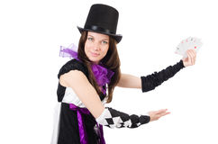 Pretty girl in jester costume with cards isolated Stock Photos