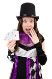 Pretty girl in jester costume with cards isolated Stock Photo