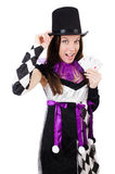 The pretty girl in jester costume with cards Stock Images