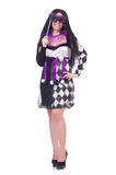 Pretty girl in jester costume isolated on white Stock Photography