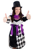 Pretty girl in jester costume isolated on white Stock Images