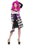 Pretty girl in jester costume isolated on white Stock Photo