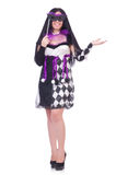 Pretty girl in jester costume isolated on white Stock Photos