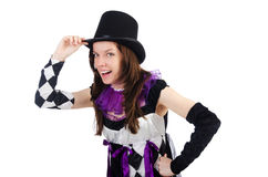 Pretty girl in jester costume isolated on white Royalty Free Stock Photography