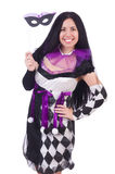 Pretty girl in jester costume isolated on white Royalty Free Stock Image
