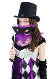 The pretty girl in jester costume Royalty Free Stock Images