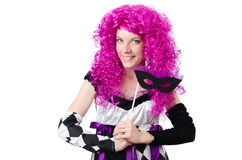 The pretty girl in jester costume isolated on Royalty Free Stock Photos