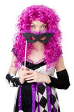 Pretty girl in jester costume  on white Stock Photography