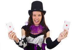 Pretty girl in jester costume on white Royalty Free Stock Photography