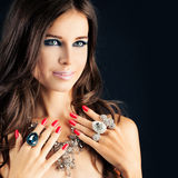 Pretty Girl with Jewelry Stock Photo