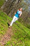 Pretty girl jogging stock photo