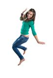 Pretty girl jumping stock image