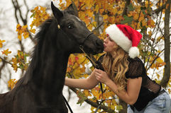 Pretty girl kissing a horse stock photography