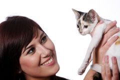 Pretty Girl and Kitten Royalty Free Stock Image